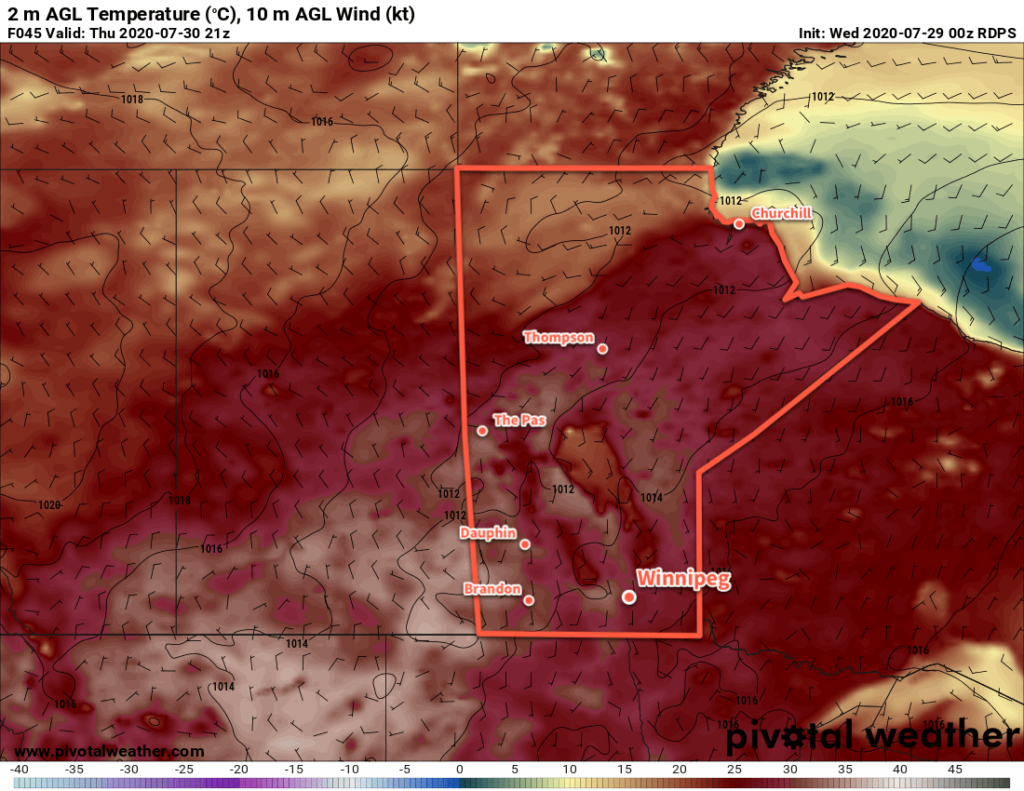RDPS 2m Temperature Forecast valid 21Z Thursday July 30, 2020