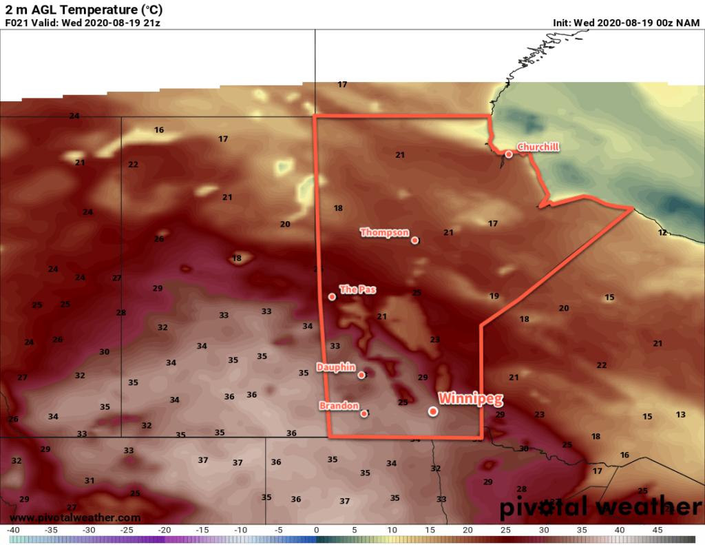 NAM 2m Temperature Forecast valid 21Z August 19, 2020