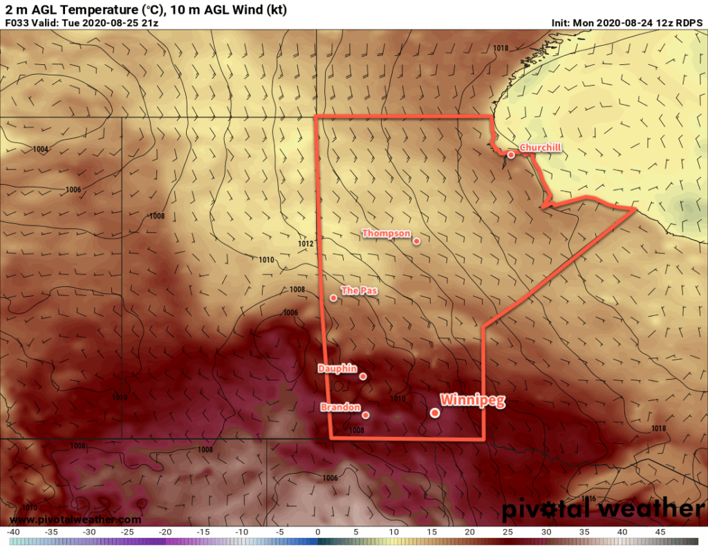 RDPS 2m Temperature Forecast valid 21Z Tuesday August 25, 2020