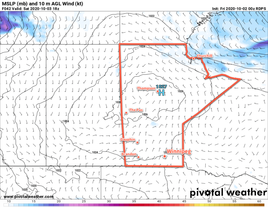 RDPS 10m Wind Speed and MSLP Forecast valid 18Z Saturday October 3, 2020