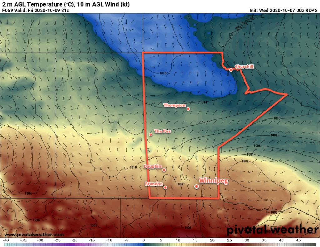 RDPS 2m Temperature Forecast valid 21Z Friday October 9, 2020