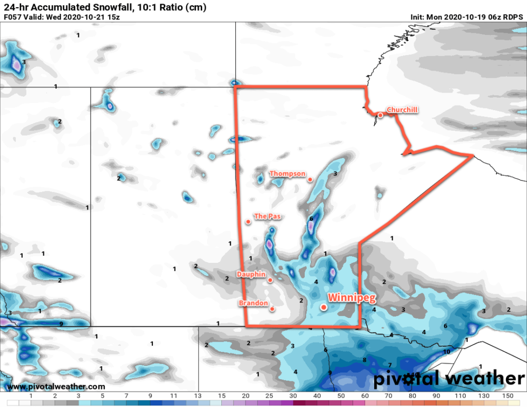 24 hr. Forecast Snowfall Accumulation at 10:1 SLR valid 15Z Wednesday October 21, 2020