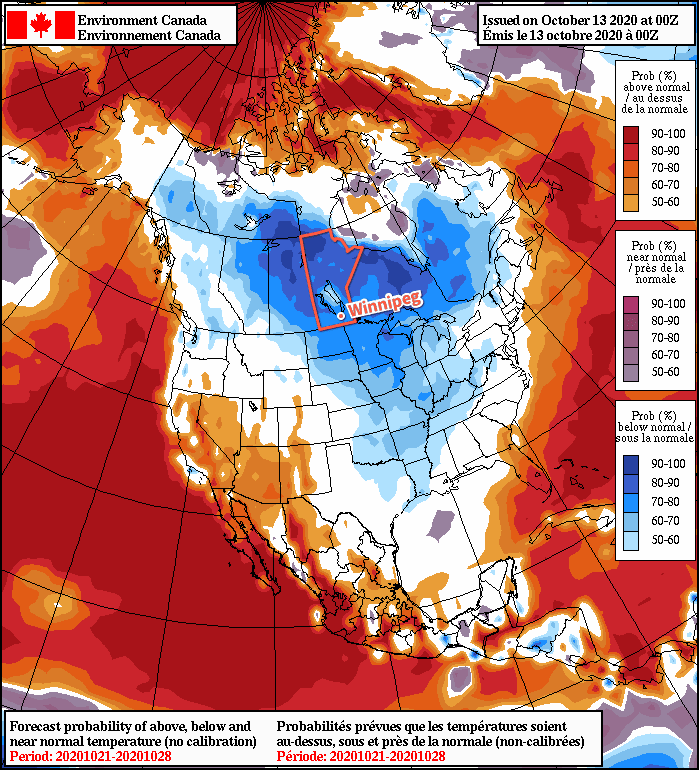 NAEFS 8-14 Day Temperature Anomaly Forecast —Valid October 21-28, 2020