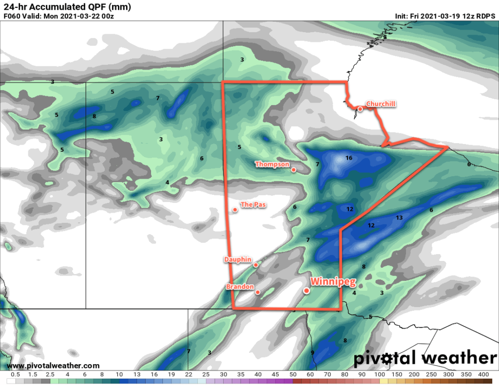 RDPS 24hr Accumulated QPF Forecast valid 00Z Monday March 22, 2021