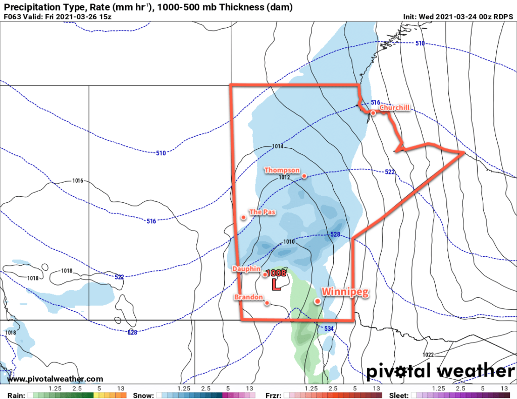 RDPS Precipitation Type and Rate Forecast valid 15Z Friday March 26, 2021
