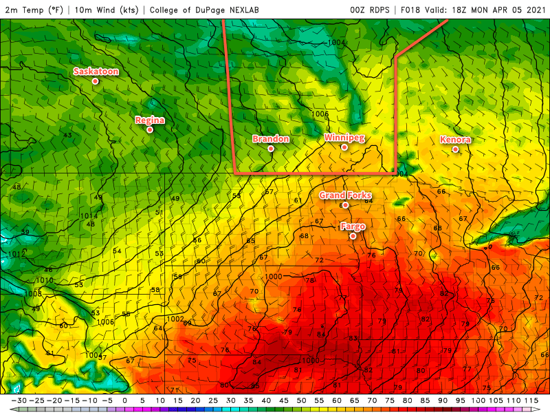 RDPS 2m Temperature Forecast valid 18Z Monday April 5, 2021