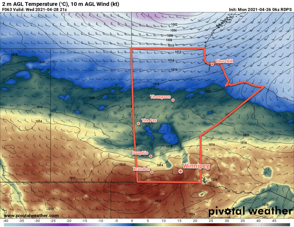 RDPS 2m Temperature Forecast valid 21Z Wednesday April 28, 2021
