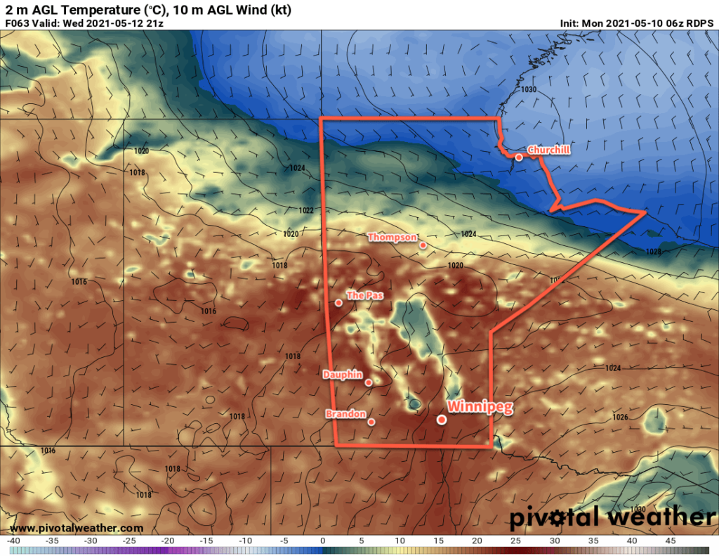 RDPS 2m Temperature Forecast valid 21Z Wednesday May 12, 2021