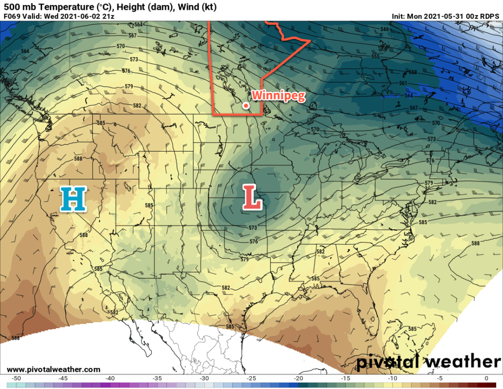 RDPS 500mb Wind and Temperature Forecast valid 21Z Wednesday June 2, 2021