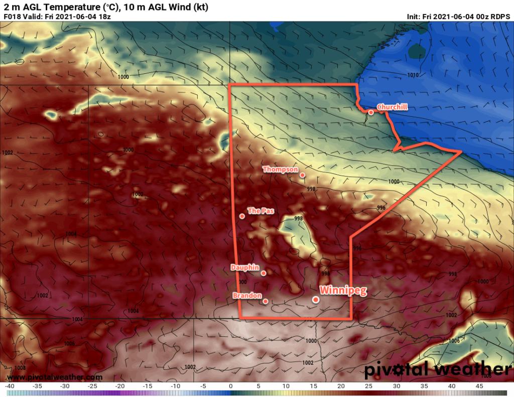RDPS 2m Temperature Forecast valid 18Z Friday June 4, 2021