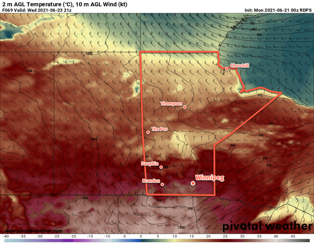 RDPS 2m Temperature Forecast valid 21Z Wednesday June 23, 2021