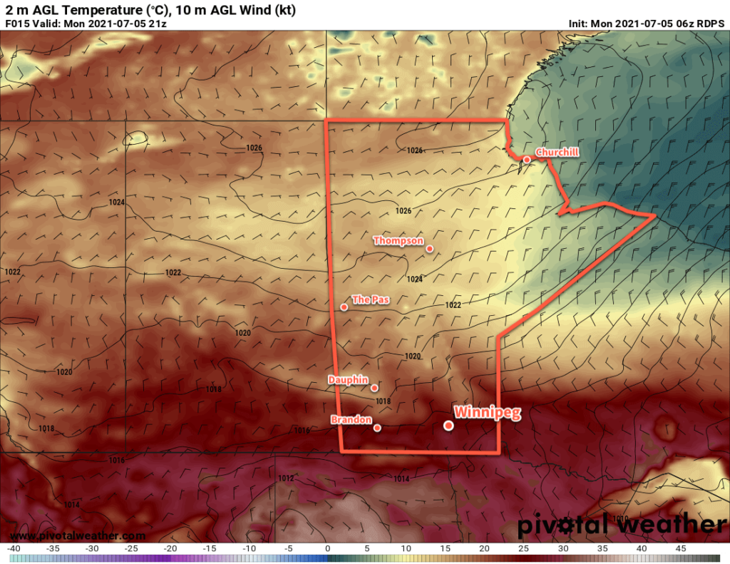 RDPS 2m Temperature Forecast valid 21Z Monday July 5, 2021