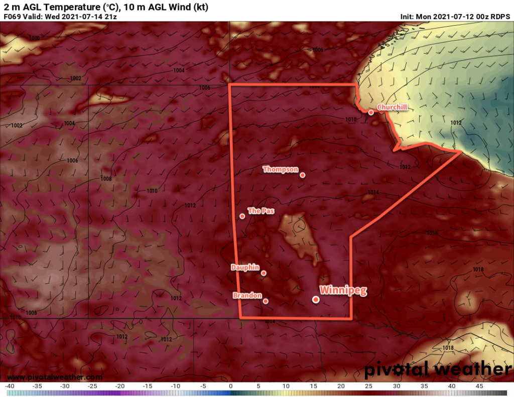 RDPS 2m Temperature Forecast valid 21Z Wednesday July 12, 2021