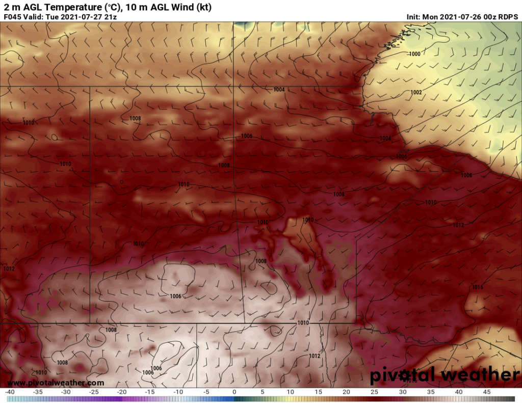 RDPS 2m Temperature Forecast valid 21Z Tuesday July 27, 2021