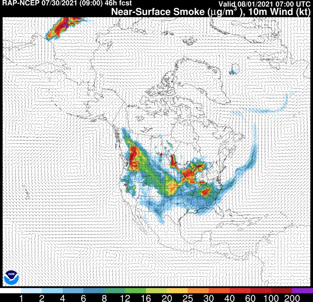 RAP-SMOKE Near-Surface Smoke Forecast valid 07Z Sunday August 1, 2021
