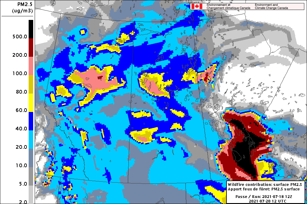 Wildfire Surface PM2.5 Contribution Forecast valid 12Z Tuesday July 20, 2021