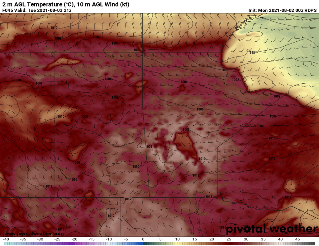 RDPS 2m Temperature Forecast valid 21Z Tuesday August 3, 2021