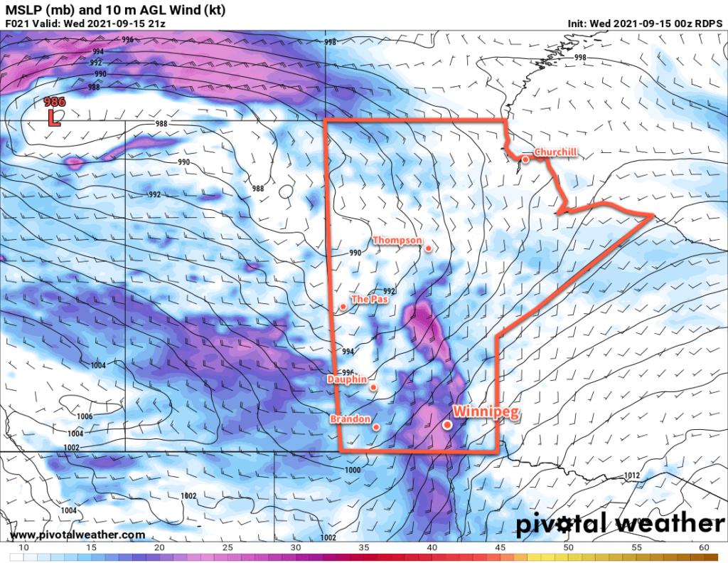 RDPS 2m Wind Forecast valid 21Z Wednesday September 15, 2021