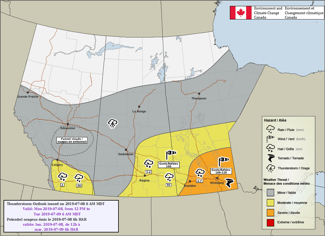 ECCC is forecasting a threat of severe thunderstorms over southern Manitoba today.